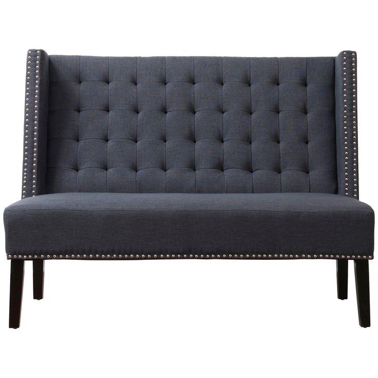 TOV Furniture Halifax Grey Linen Banquette Bench 63114