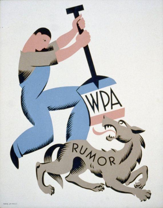 WW2 Art  WPA Rumor  Vintage Propaganda by FalaPress on Etsy, $15.00