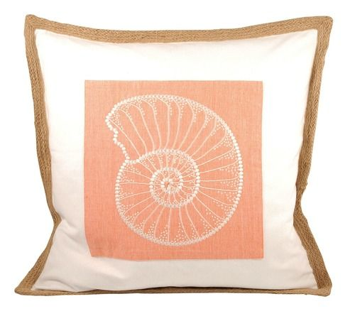 Soft Orange And Ivory Shades Combine To Create A Lovely Coastal Orange  Nautilus Shell Pillow With Embroidered Details And Beading. A Natural Jute  Edging And ...