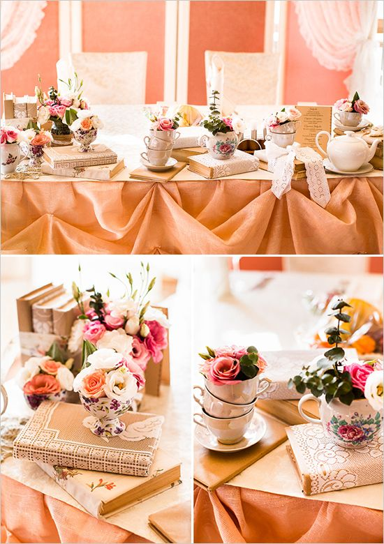 "love the look of tea cups? Guess what? We have vintage tea cup rentals included in our DIY-LIGHTFUL package! with a little imagination we can create a tablescape just as romantic as this one :) check them out on our website at www.marileegrace.com - under ""rentals"""