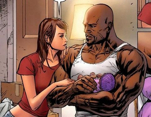 The Cage Family: Jessica Jones, Luke Cage, and their baby Danielle ~ art by Billy Tan
