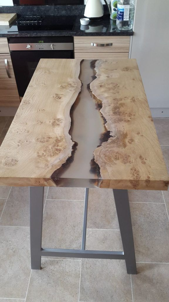 Like The Thickness Of The Table And Color Of Wood Kitchen Table Wood Live Edge Wood Table Resin Table