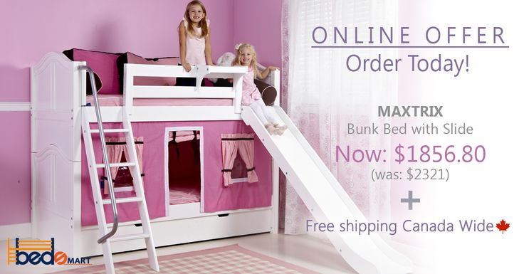 Maxtrix Twin over Twin Bunk Bed with Slide. See all your options at www.bedsmart.ca   Free Shipping Canada Wide. Go to www.bedsmart.ca  Maxtrix Loft & Bunk Beds are modular, made of Solid Maple & holds up to 400lbs.