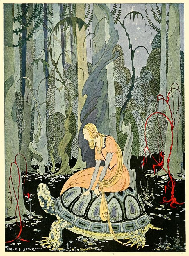 "Illustration to ""Blondine and the Tortoise"" ~ by  Virginia Frances Sterrett (from Old French Fairy Tales).  A link to a site with more examples of her work and which includes a link to the stories included in Old French Fairy Tales is:  http://sterrett.artpassions.net/virginia_sterrett.html"