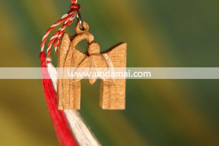 Martisor - GHIOCEL - din lemn, lucrat manual