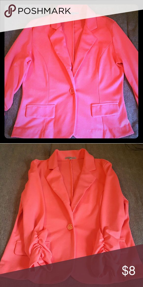 Charlotte Russe Coral Blazer Gorgeous bright pink/coral color. Ruched 3/4 sleeves. Fake pocket sleeves. Never worn. Charlotte Russe Jackets & Coats Blazers