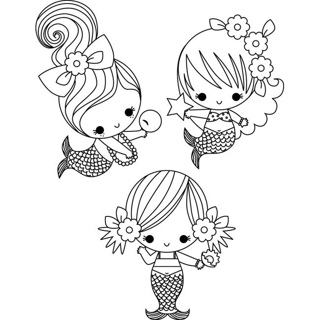 Little mermaids coloring page cute clip art Pinterest