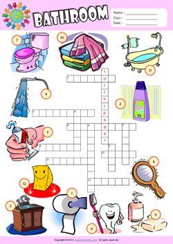 Bathroom Crossword Puzzle ESL Vocabulary Worksheet