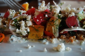 roasted beets salad - tomatoes, fennel, cucumbers, onions, dill, farro ...