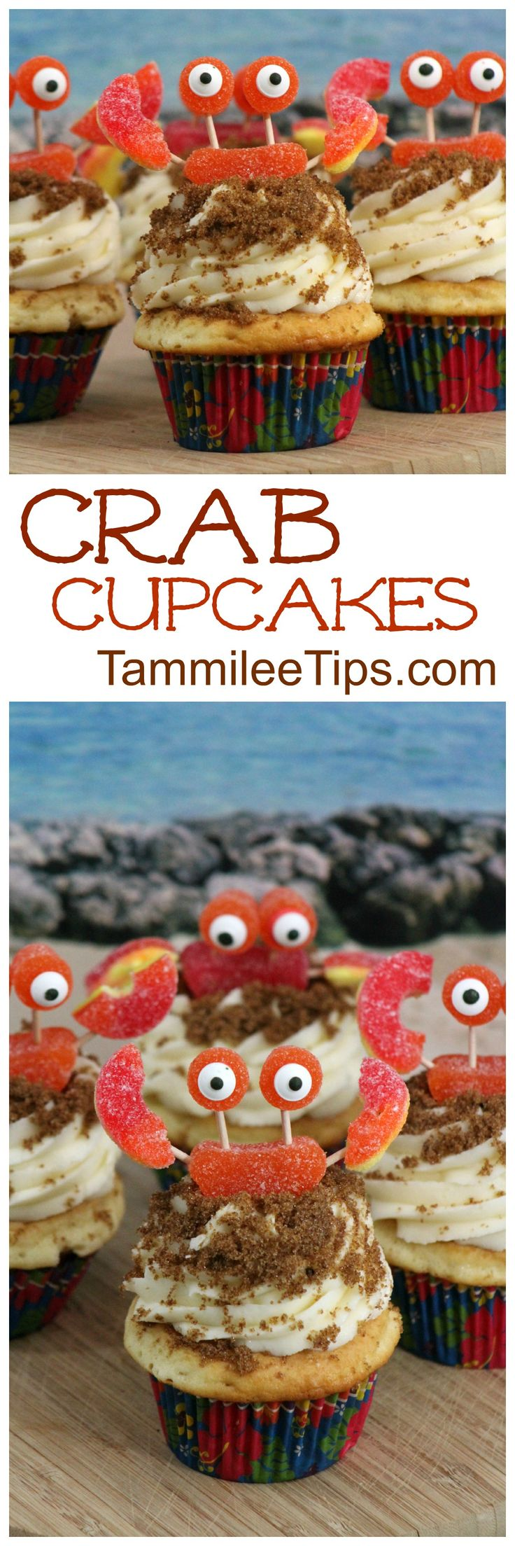 How+to+make+seriously+oh+so+cute+Crab+Cupcakes!+Perfect+for+Under+the+Sea+Ocean+birthday+parties,+baby+showers,+Moana,+Little+Mermaid+parties+via+@tammileetips
