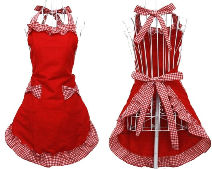 Amazon.com: Hyzrz Cute Red Cotton Flirty Womens Aprons Fashion for Girls Vintage Cooking Retro Apron with Pockets Special: Kitchen Aprons: Kitchen & Dining