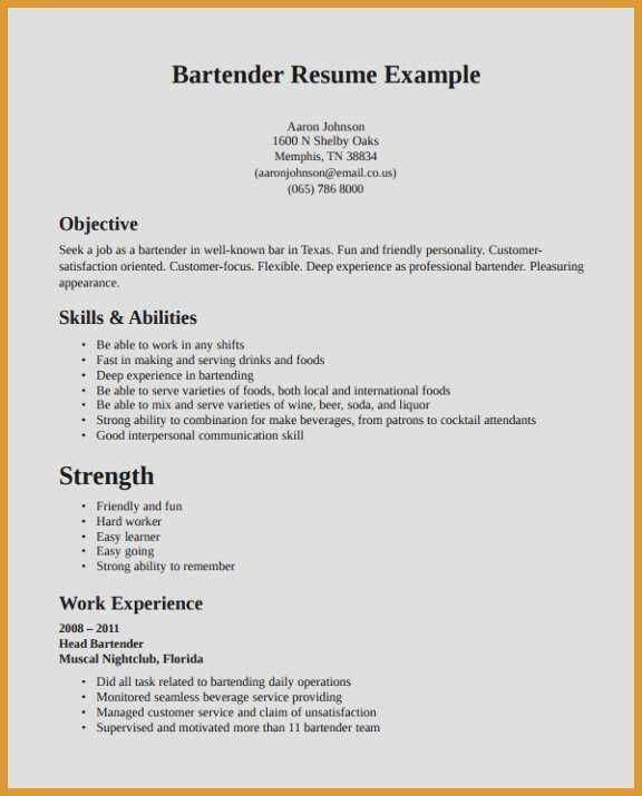 69 Best Of Collection Resume Objective Examples For Waitress