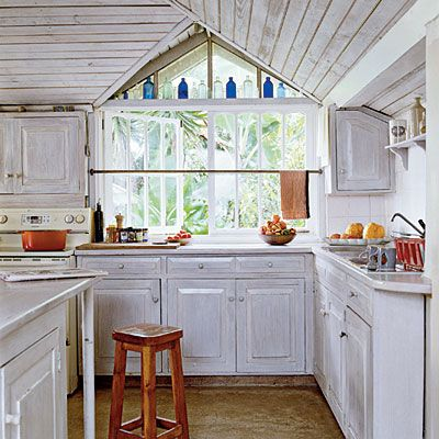 Whitewash to Highlight Texture: Whitewashed wood in this kitchen shows off the natural material's texture and imperfections—creating a lived-in-for-years look.Decor, Beach House, Curtain Rods, Curtains Rods, Beach Style, Coastal Living, Country Kitchens, Beach Room, White Kitchens