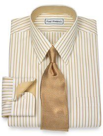 Non-Iron 2-Ply 100% Cotton Stripe Straight Collar Dress Shirt