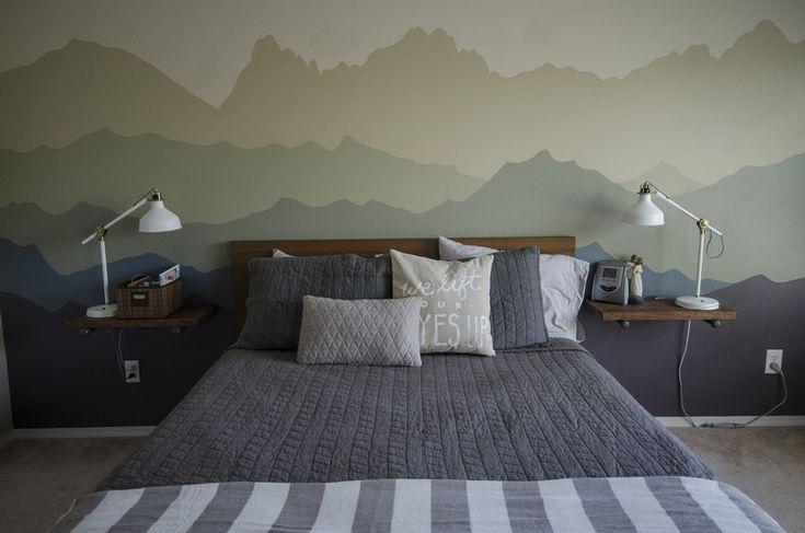 wandgestaltung-farbe-muster-gebirge-wandgemälde-selber-machen-schlafzimmer