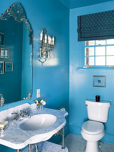 Sky Blue Painted Bathroom with Traditional Decor