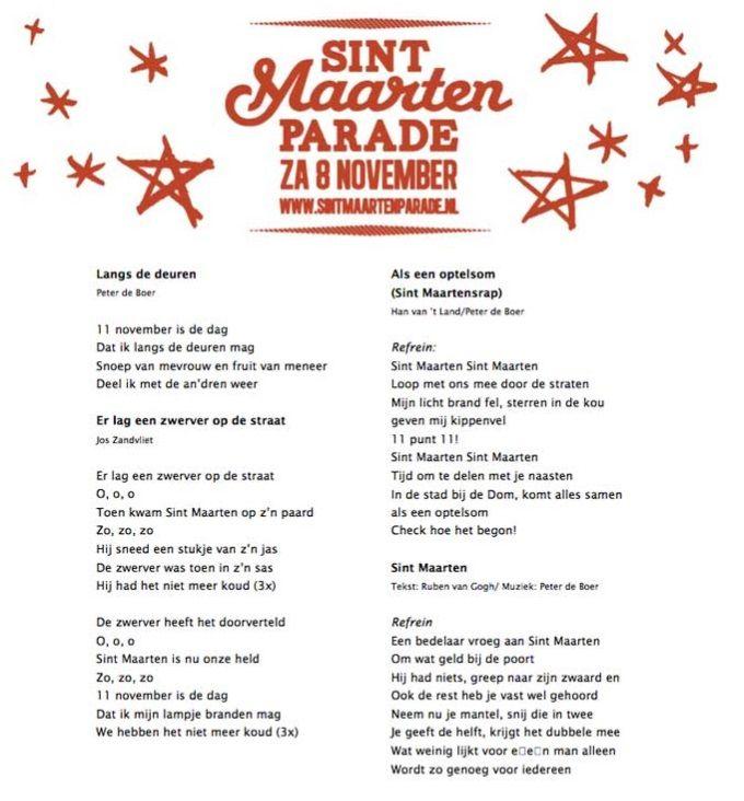 Liedjes van de Sint Maarten parade