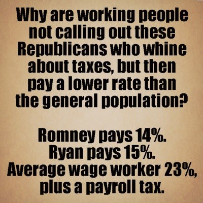 """Whatever Romney pays in """"income"""" taxes, his capital gains tax on all his investments is much lower, probably more like 9%.  NOT FAIR."""