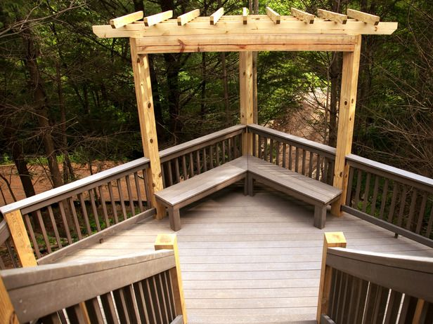 Deck bench deck bench built in bench double stairs for How to build a corner pergola