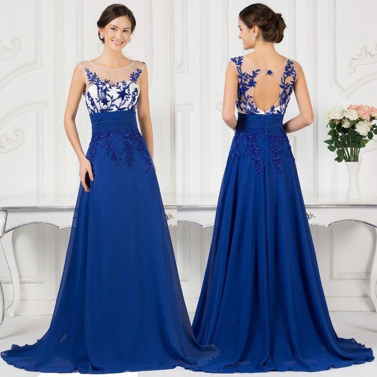 Blue embellished evening dress