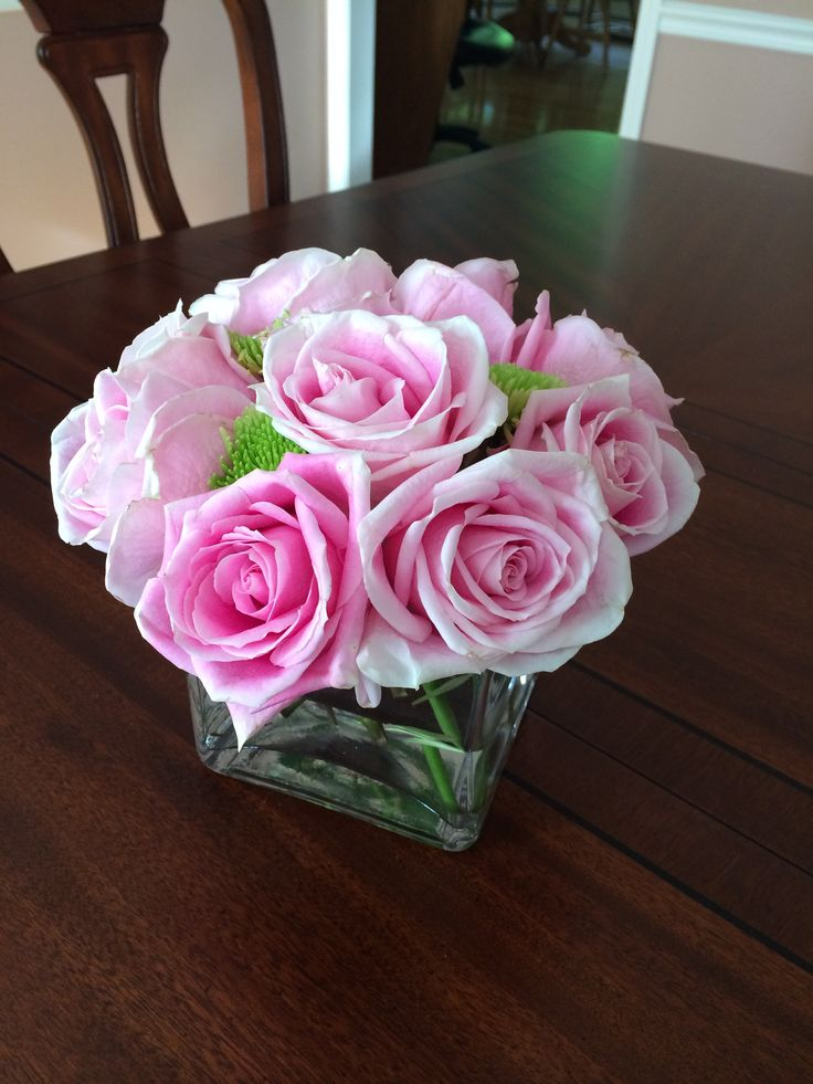 Simple rose centerpiece garden chic themed bridal shower