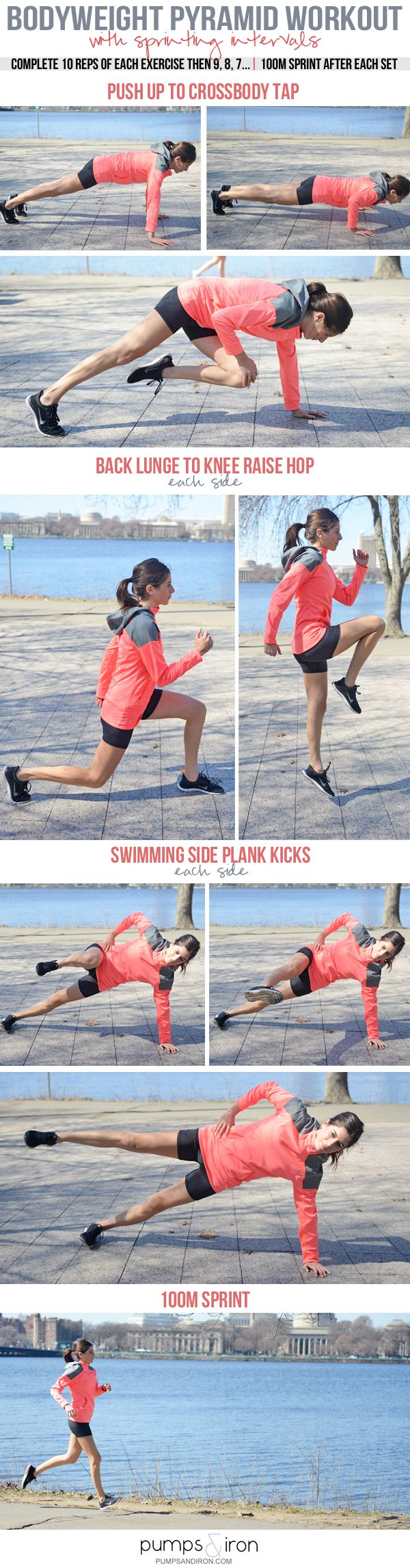 Bodyweight Pyramid Workout with Sprints - perfect workout for the track or treadmill!