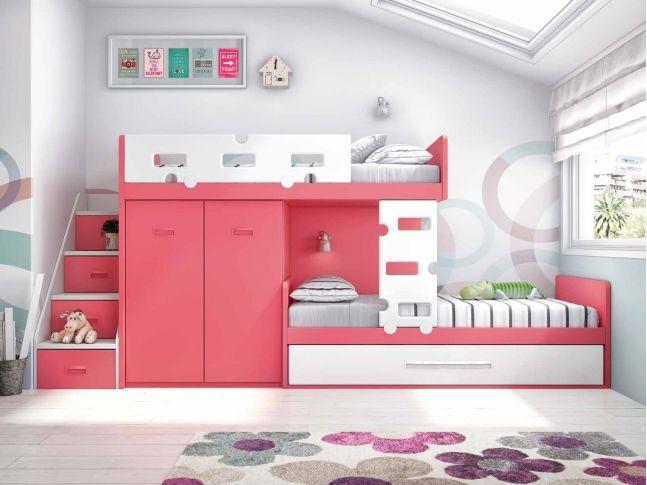 chambre kids lit superpos enfant lit gigogne chambre double lits superposs chambre fille lieux chambres partages compact - Chambre Double Fille