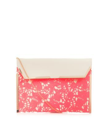 Pink Floral Crochet Panel Print Clutch