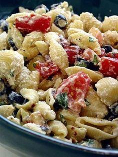 Roasted garlic, olive and tomato pasta salad.....NO MAYO! Dressing made with greek yogurt, ricotta and roasted garlic...
