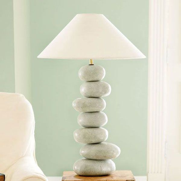 Artistic Creative Lamp Ideas Creating Special House Decoration: Natural  Architect Modern House Lamp Ideas With Piles Of Stones Ornaments Ins.