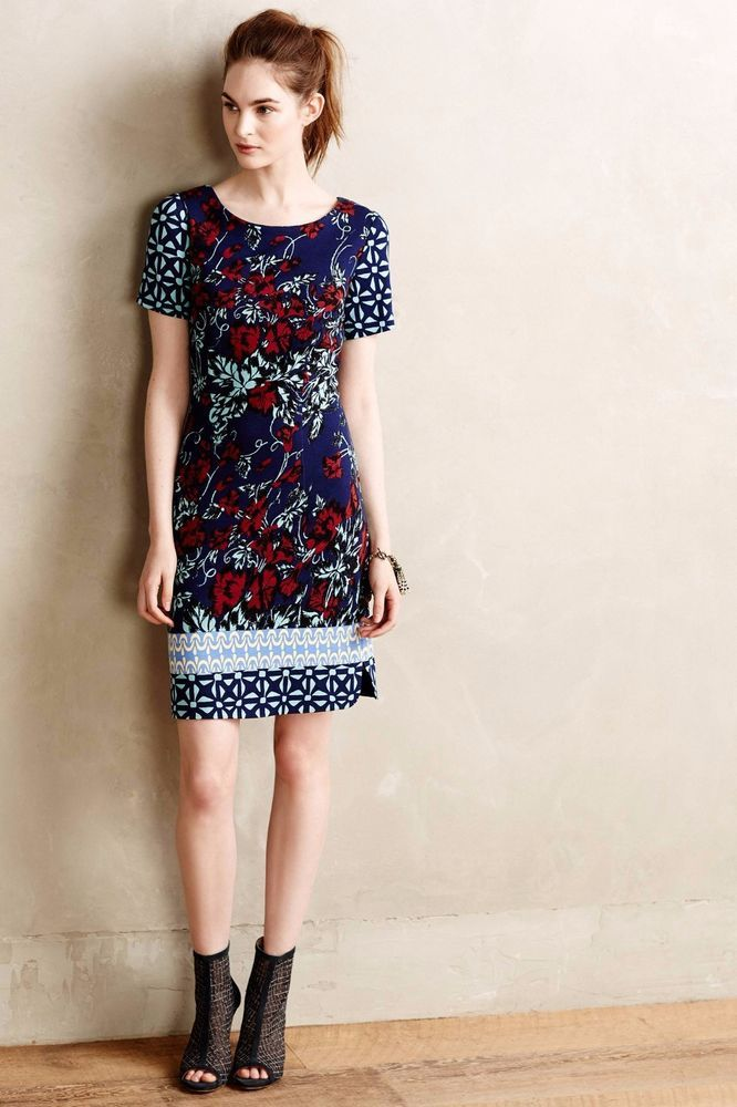 Anthropologie Deveney Ponte Shift Dress by Plenty by Tracy Reese - Sz 10 (Blue)…