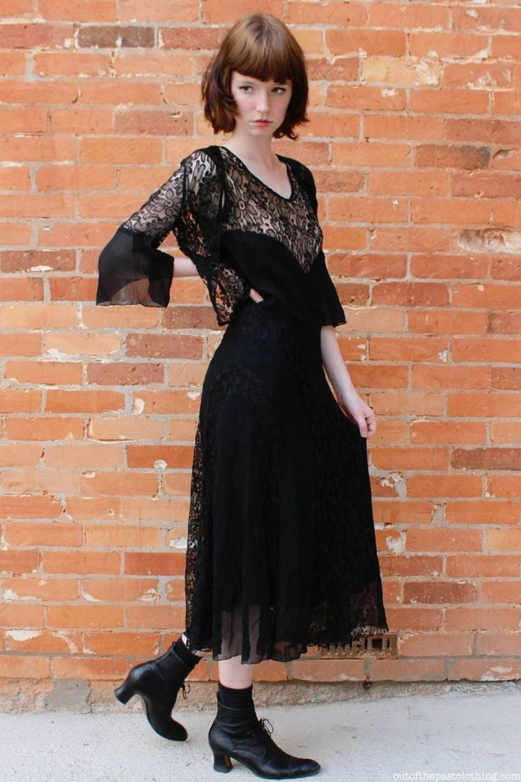 1930s Vintage Black Rayon Crepe and Lace Dress with Lace Jacket