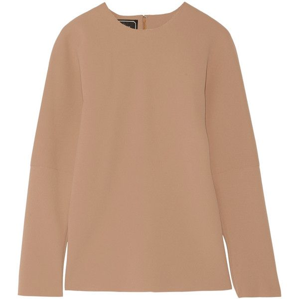 By Malene Birger Calypta paneled crepe top ($110) ❤ liked on Polyvore featuring tops, camel, beige top, camel top, loose fit tops, crepe top and loose tops