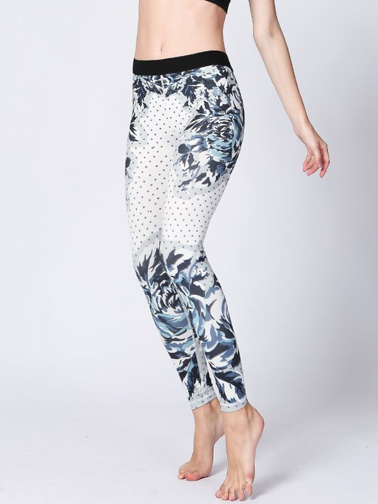 Women Flower Printed Stretch Sport Pants