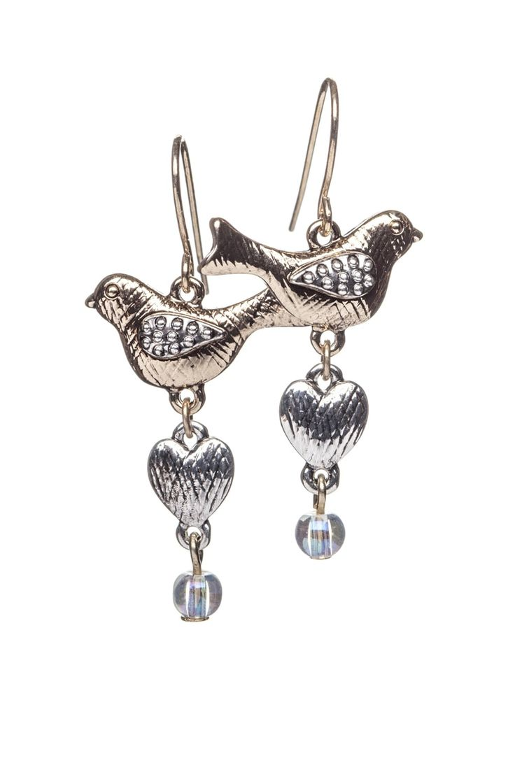 Cute Birdie Earrings  http://www.mistral-online.com/accessories-c10/jewellery-c43/earrings-c82/cute-birdie-earring-with-scratched-detail-heart-dr-gold-silver-mix-p27863