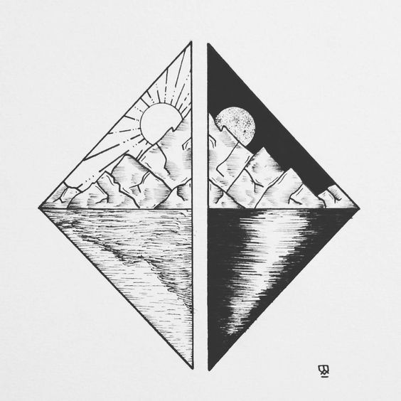 Tattoo • Diamond & Landscape • Drawing •