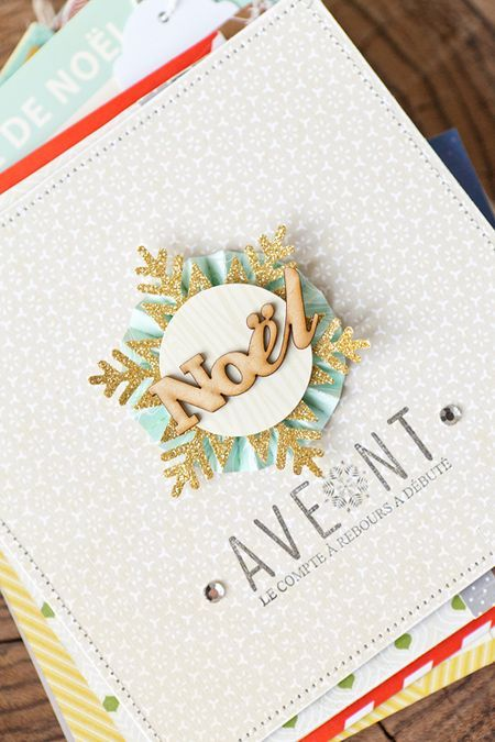 December daily by Stéphanie Dagan. Really like the cover & days 7 & 8. Neutral with touches of color. Wood, gold, light turquoise, white. Scrapbooking journal for Christmas.
