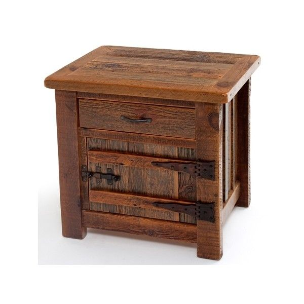 Antique Wood Furniture, Rustic End Table, Cabin Nightstands ❤ liked on Polyvore
