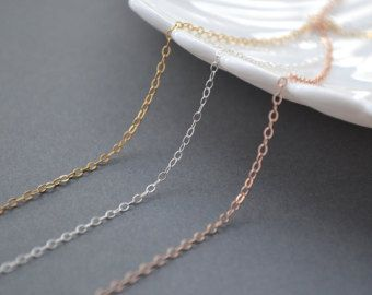 Delicate Chain Necklace / Very Dainty and Thin Gold Chain, Sterling Silver, Rose Gold Filled / 14k Gold Filled Chain by malizbijoux. Explore more products on http://malizbijoux.etsy.com