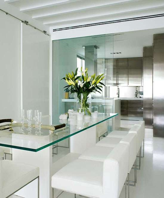 Glass dining table and white chairs102 best Dining images on Pinterest   Dining tables  Dining room  . Glass Dining Room Table Decor. Home Design Ideas