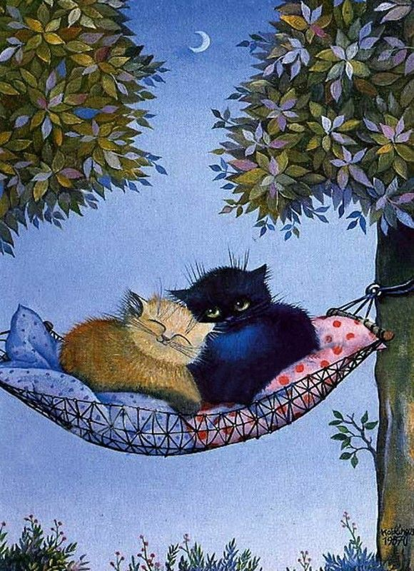 Картинки о птичке и кошке приятно