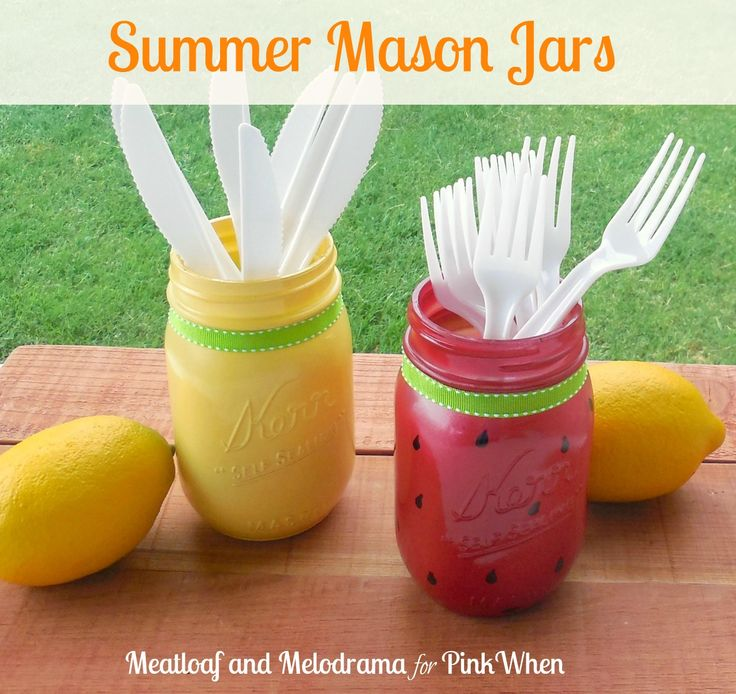 Summer Mason Jars--I love the look of painted mason jars, and you can do so many different things with them. Because summer is the season for picnics and cookouts, I thought it would be fun to paint mason jars in a summer theme and use them to hold utensils.