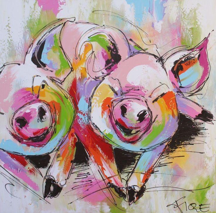 https://www.google.nl/search?q=vrolijke+dieren+schilderijen&espv=210&es_sm=122&tbm=isch&tbo=u&source=univ&sa=X&ei=imh6UvDIN-Kw0AW_tYH4CA&ved=0CDsQsAQ&biw=1309&bih=710 - Fiore - Twee vrolijke biggen - U vindt bij ons een bonte verzameling schilderijen die door het fiore collectief van Nederlandse kunstenaars uit het oosten van het land zijn gemaakt..