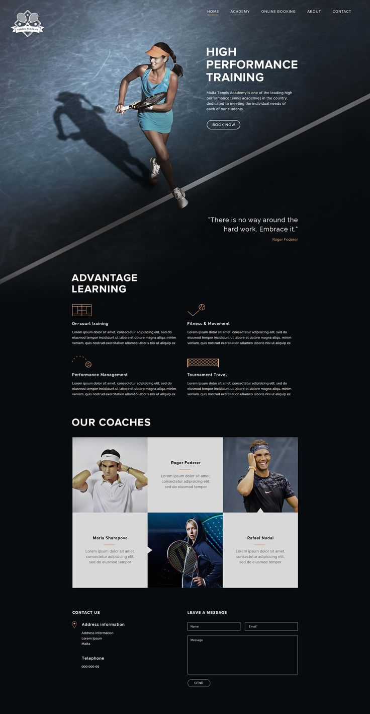 Tennis Academy Web Design – Student Project.