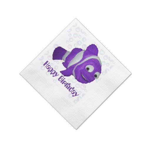 Happy Birthday Fish (purple) Napkin