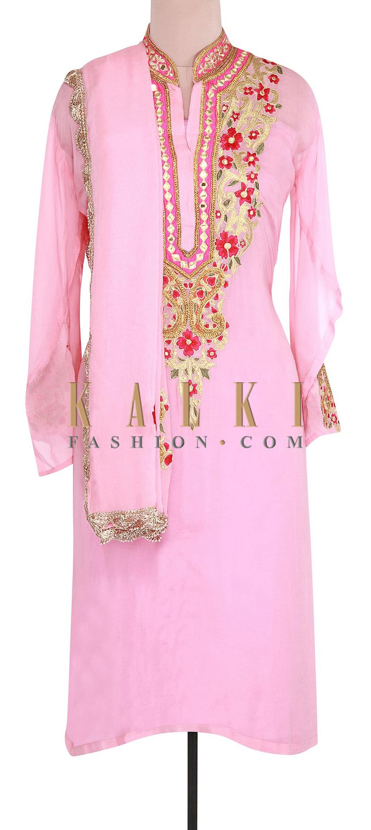 Buy Online from the link below. We ship worldwide (Free Shipping over US$100). Product SKU - 302032. Product Link - http://www.kalkifashion.com/pink-semi-stitched-suit-featuring-in-resham-and-zari-embroidery-only-on-kalki.html