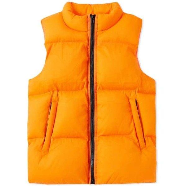 MKI Bubble Vest (Matte Orange) | END. ($240) ❤ liked on Polyvore featuring outerwear, vests, bubble vest, vest waistcoat, orange vest and orange bubble vest