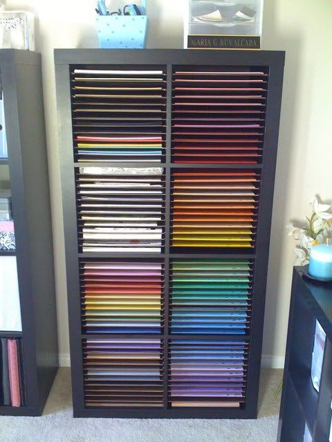 Scrapbook paper organization in an ikea Expedit