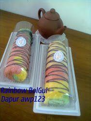Rainbow Cake Roll, Bolu Gulung Rainbow, Bolu Gulung Putih Telur