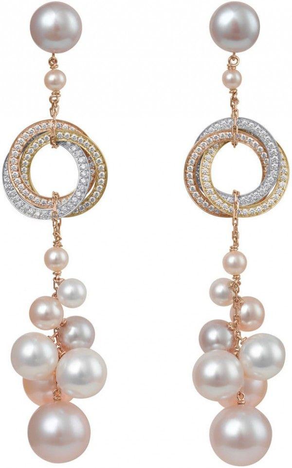Cartier Trinity pearls pendant earrings